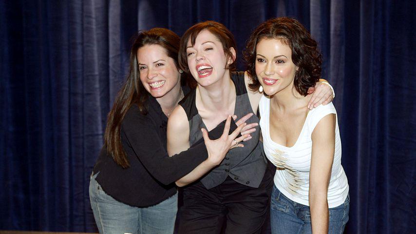 Holly Marie Combs, Rose McGowan & Alyssa Milano am Filmset in Los Angeles