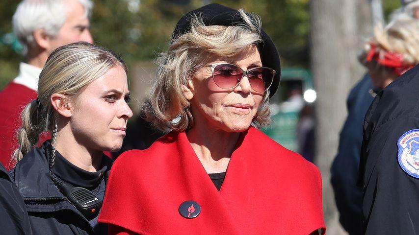 Jane Fonda bei einem Klimaschutz-Streik