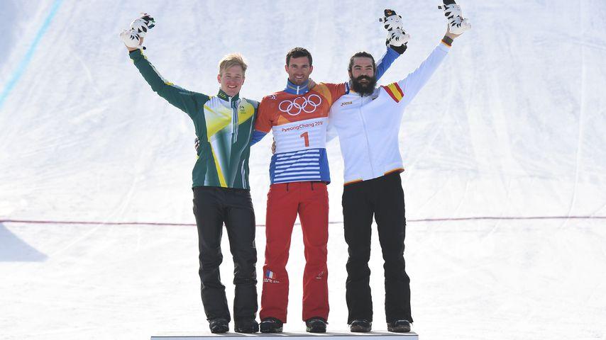 Jarryd Hughes, Pierre Vaultier und Regino Hernandez, Snowboardcross-Olympia-Sieger 2018