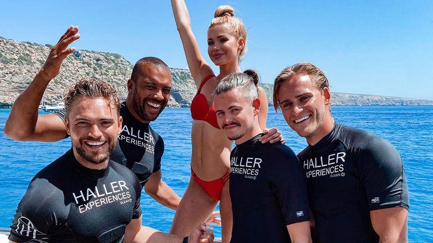 Johannes Haller, Thomas Williams, Pamela Reif, Dennis Reif und Nic Schroth auf Ibiza, Juli 2020
