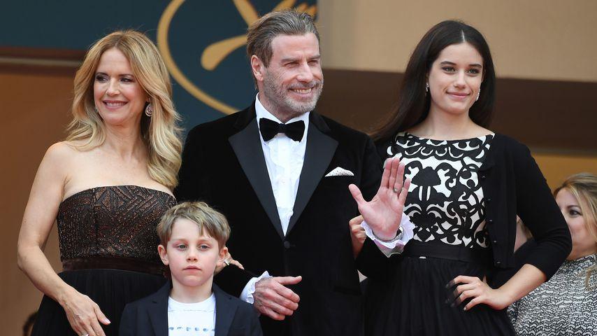 John Travolta, Kelly Preston und ihre Kinder Benjamin und Ella Bleu im Jahr 2018