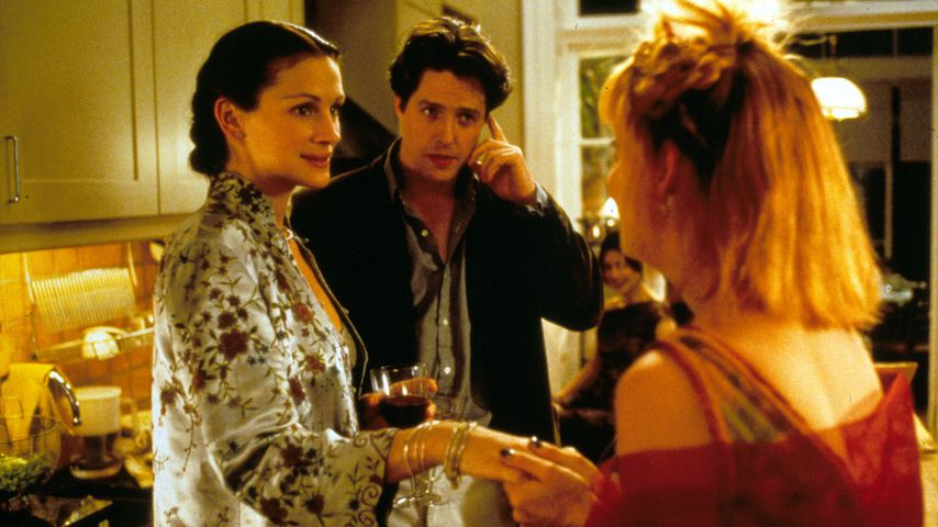 "Julia Roberts, Hugh Grant und Emma Chambers in ""Notting Hill"", 1999"