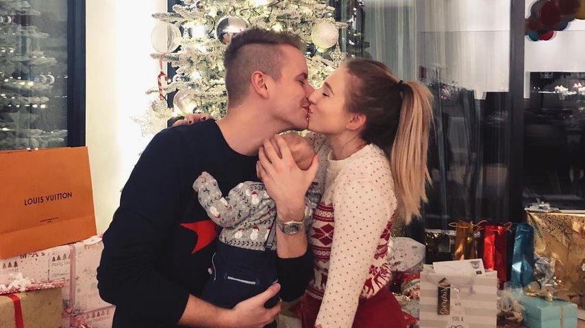Julian und Bibi Claßen mit ihrem Sohn im Dezember 2018