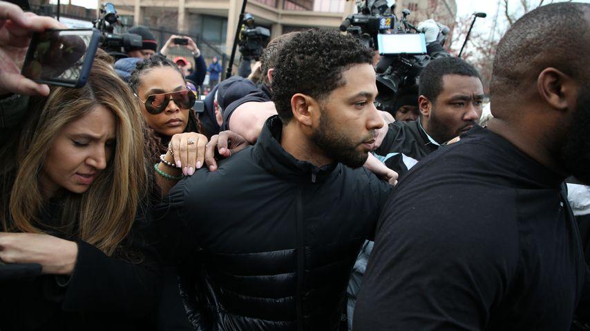 Jussie Smollett kommt aus dem Gefängnis in Chicago im Februar 2019