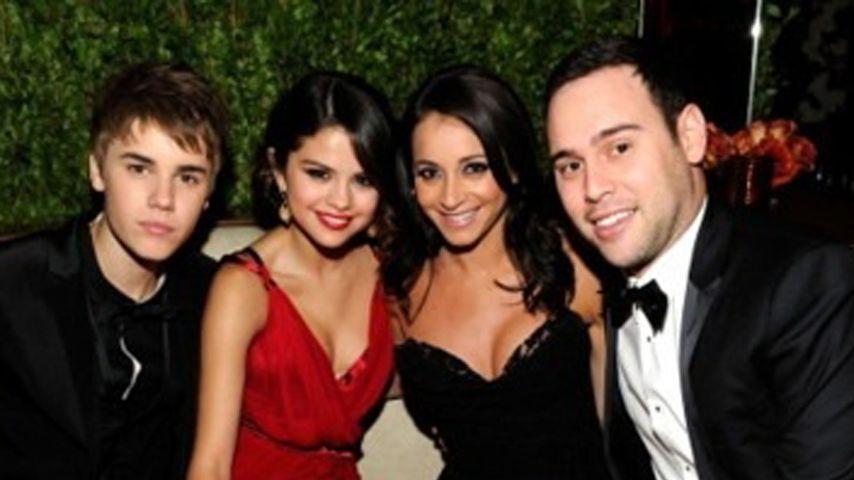 Justin Bieber mit Selena Gomez und Manager Scooter Braun