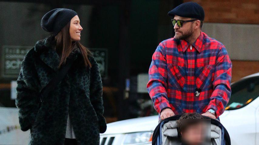 Justin Timberlake, Ehefrau Jessica Biel und Sohn Silas im Februar 2020