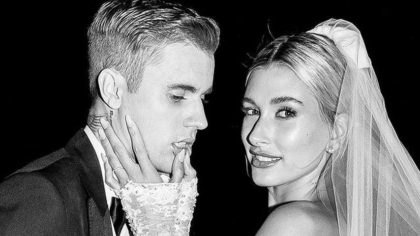 Justin und Hailey Bieber bei ihrer Hochzeit im Jahr 2018