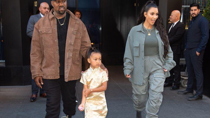 Kanye West, North West und Kim Kardashian im Juni 2018 in New York