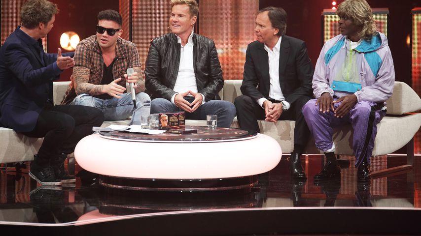 Kay One (2. v.l.) mit Moderator Oliver Geissen, Dieter Bohlen, André Selleneit und Bruce Darnell