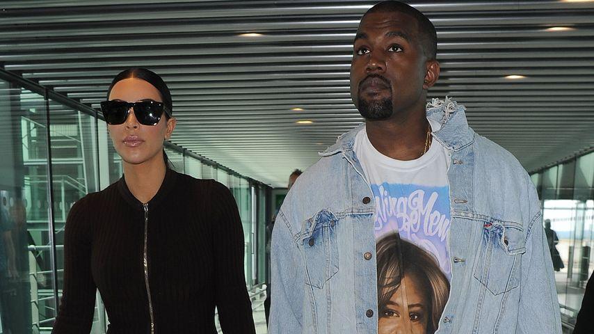 Kim Kardashian und Kanye West am Heathrow Airport