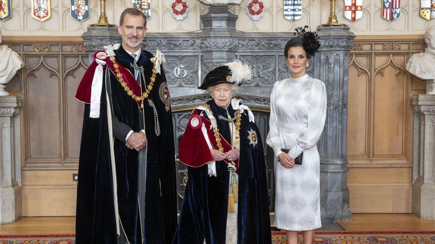 """König Felipe von Spanien, die Queen und Königin Letizia während des """"Garter Days"""""""