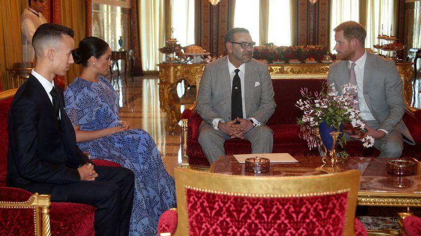 Kronprinz Moulay Hassan, Herzogin Meghan, König Mohammed VI. und Prinz Harry, Februar 2019