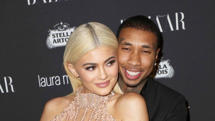 """Kylie Jenner mit Tyga bei einer Party des Magazins """"Harper Bazaar"""" in New York"""