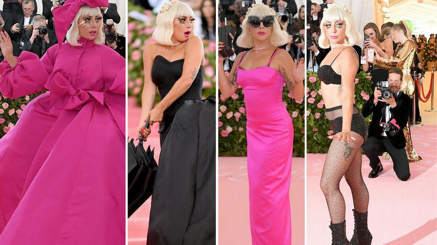 Collage: Lady Gaga in ihren vier Outfits auf der Met Gala 2019