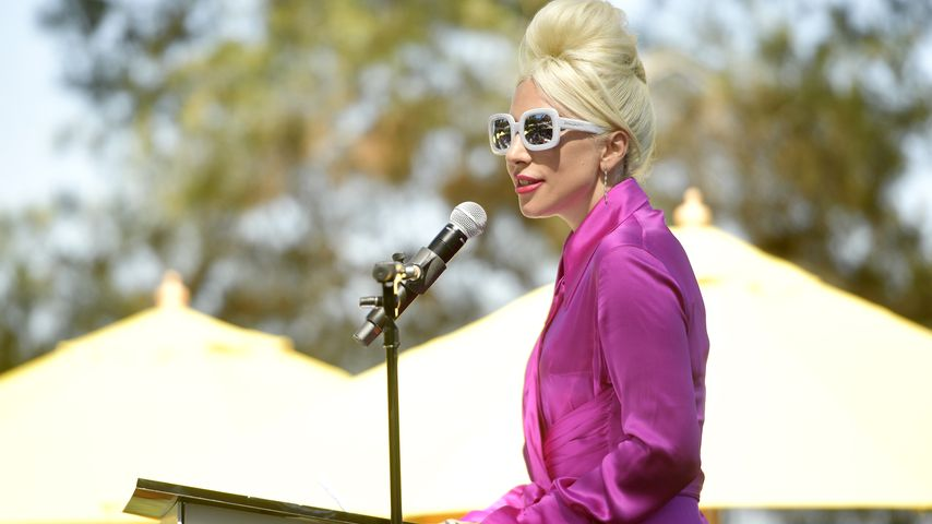 Farbbombe? Lady GaGa als rosafarbenes Fell-Monster