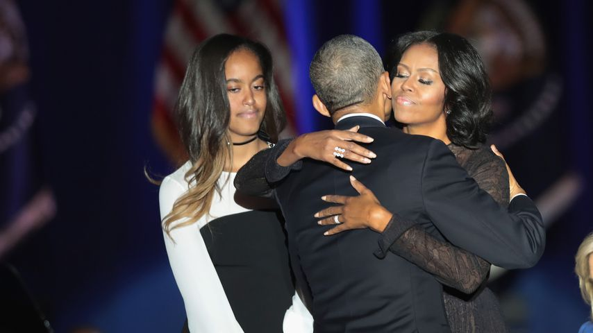 Malia, Barack und Michelle Obama 2017