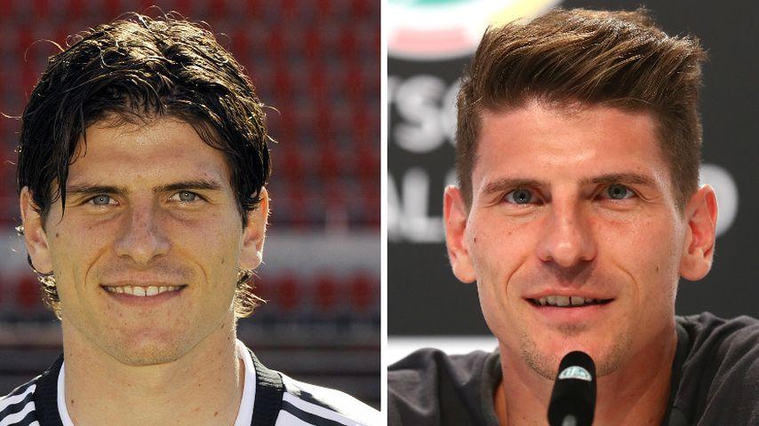 Collage: Mario Gomez, Fußballnationalspieler, 2008 (links) und 2018 (rechts)