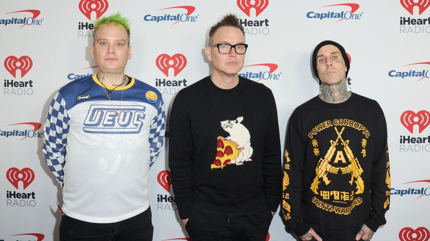 Matt Sibka, Mark Hoppus und Travis Barker als Band Blink-182