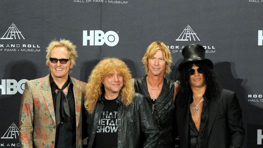 Die Guns' N Roses-Musiker Matt Sorum, Steven Adler, Duff McKagan und Slash
