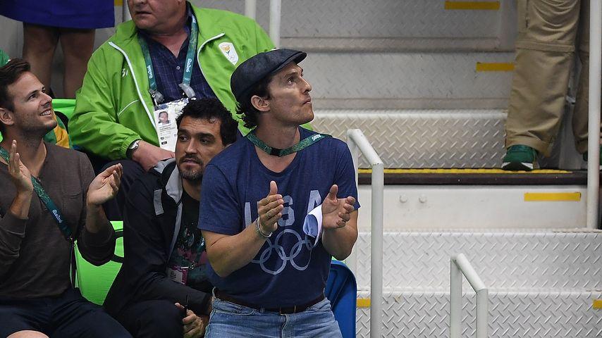Matthew McConaughey beim Olympia-Schwimmfinale der Olympischen Spiele in Brasilien