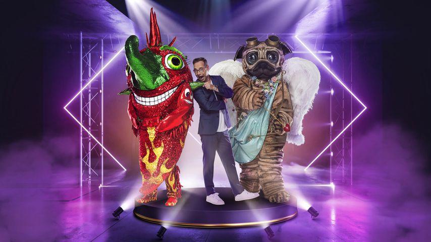 """Matthias Opdenhövel mit der Chili und dem Mops aus der neuen """"The Masked Singer""""-Staffel"""