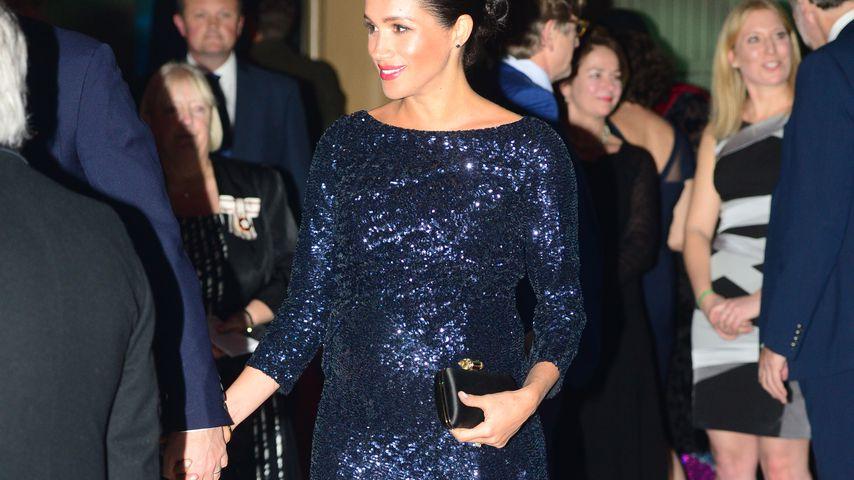 Im Glitzer-Kleid: Meghan hochschwanger & total glamourös!