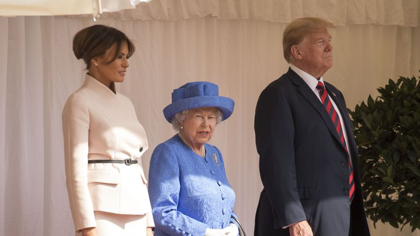 Melania Trump, die Queen und US-Präsident Donald Trump