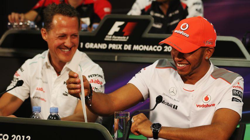 Michael Schumacher und Lewis Hamilton im Mai 2012