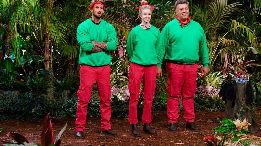 Mike Heiter, Zoe Saip und Frank Fussbroich an Tag drei in der Dschungelshow 2021