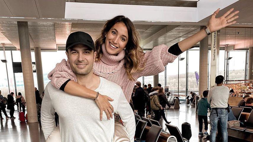 Sara und Lorenzo Leutenegger am Flughafen
