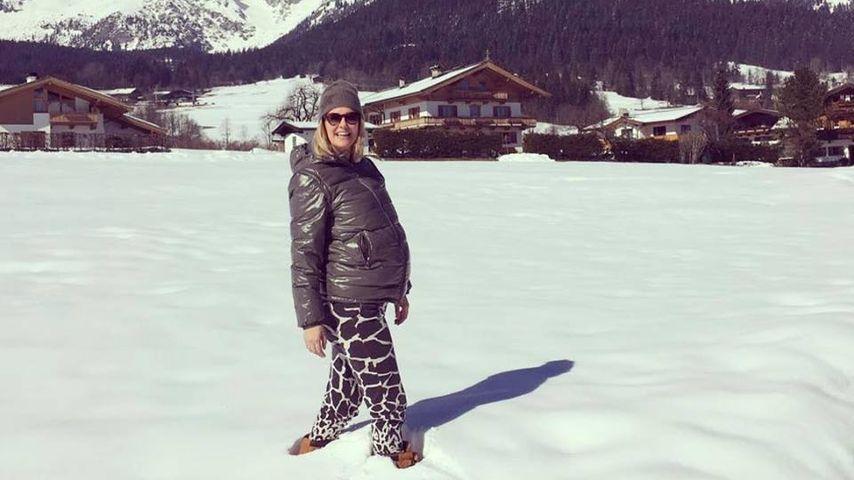 Hochschwanger: Monica Ivancan mit Mega-Bauch im Schnee