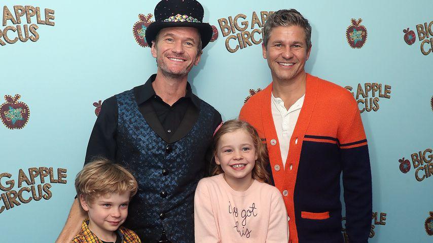 Neil Patrick Harris mit Ehemann David Burtka und ihren Kindern Gideon und Harper