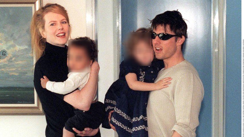 Collage: Nicole Kidman und Tom Cruise mit ihren Adoptivkindern Connor und Isabella, 1996