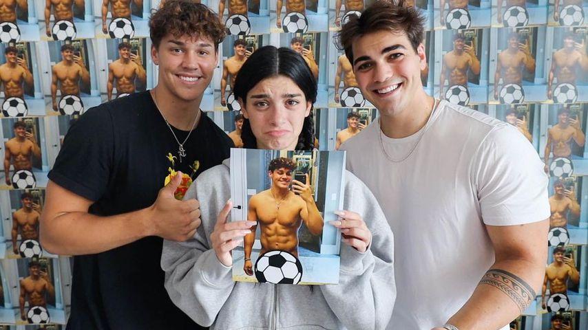 Noah Beck, Dixie D'Amilio und Thomas Petrou im Oktober 2020