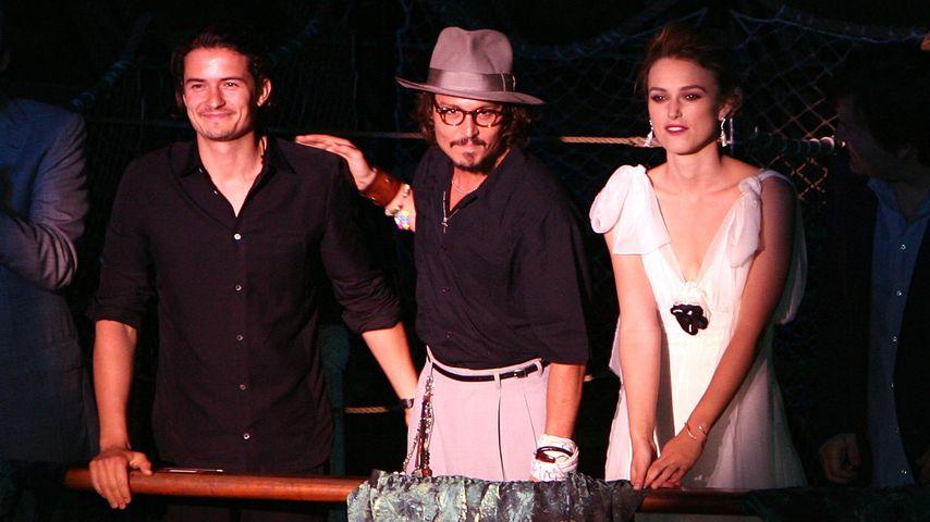"""Orlando Bloom, Johnny Depp und Keira Knightley bei der Weltpremiere von """"Fluch der Karibik 2"""""""