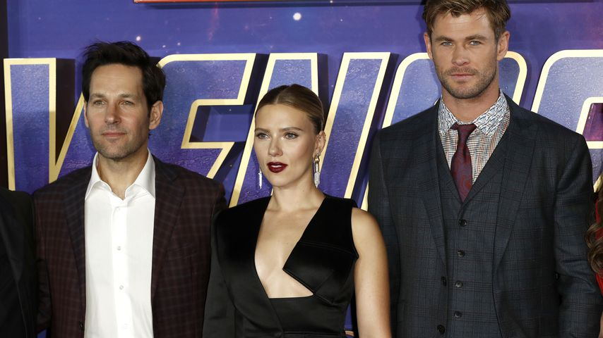 Paul Rudd, Scarlett Johansson und Chris Hemsworth im April 2019