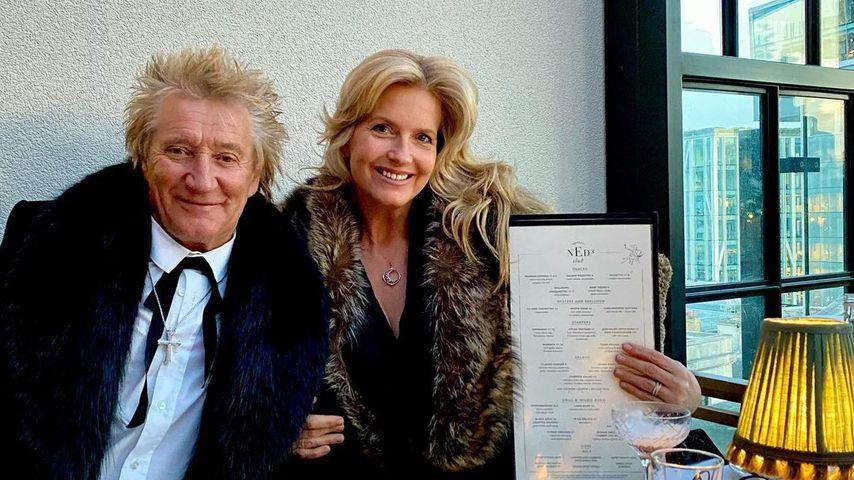 Rod Stewart mit seiner Frau Penny