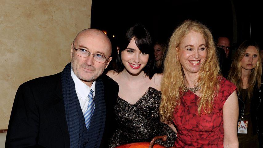Phil Collins mit Tochter Lily Collins und Ex-Frau Jill Tavelman, 2012