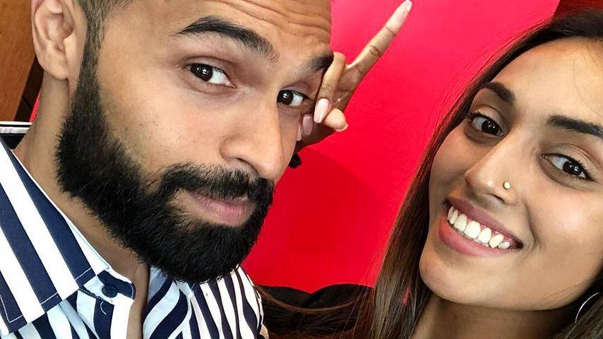 GNTM-Kandidatin Sayana mit ihrem Freund Prash