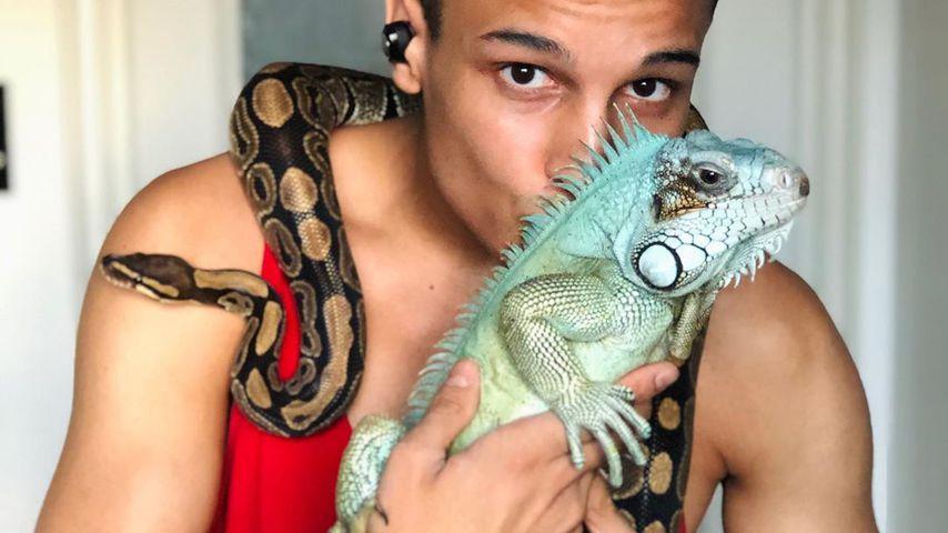 Prince Damien, seine Schlange Monty und sein Leguan Petro