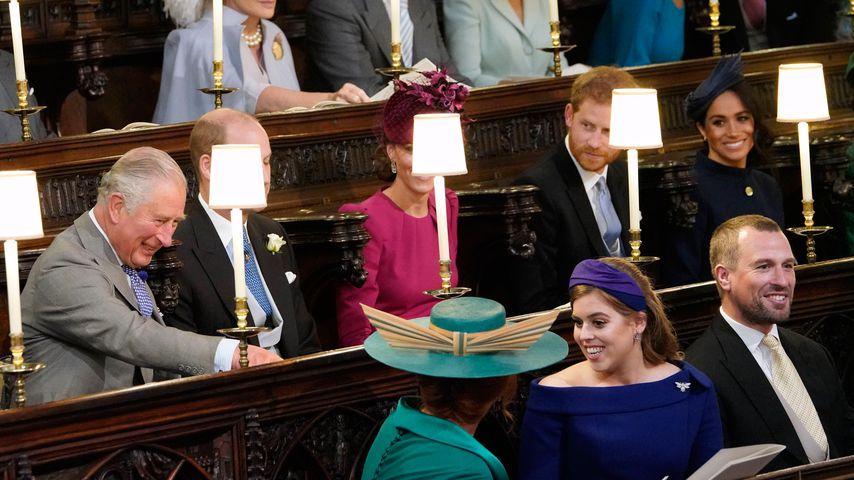 Prinz Charles, Prinz William, Herzogin Kate, Prinz Harry, Herzogin Meghan und Prinzessin Beatrice
