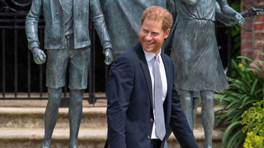 Prinz Harry vor der Diana-Statue im Juli 2021