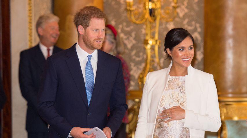 Prinz Harry und Herzogin Meghan bei einem Empfang im Buckingham Palace