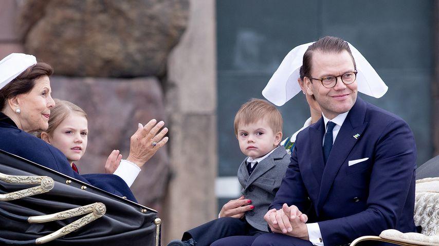 Königin Silvia, Prinzessin Estelle, Prinz Oscar und Prinz Daniel von Schweden