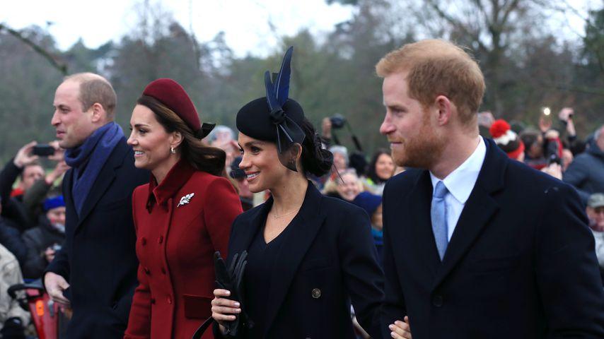 Prinz William, Herzogin Kate, Herzogin Meghan und Prinz Harry an Weihnachten 2018