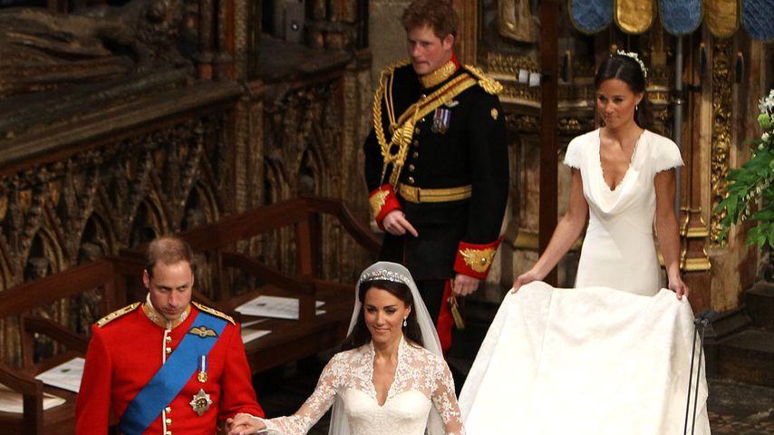 Prinz William, Herzogin Kate, Prinz Harry und Pippa Middleton, April 2011 in London