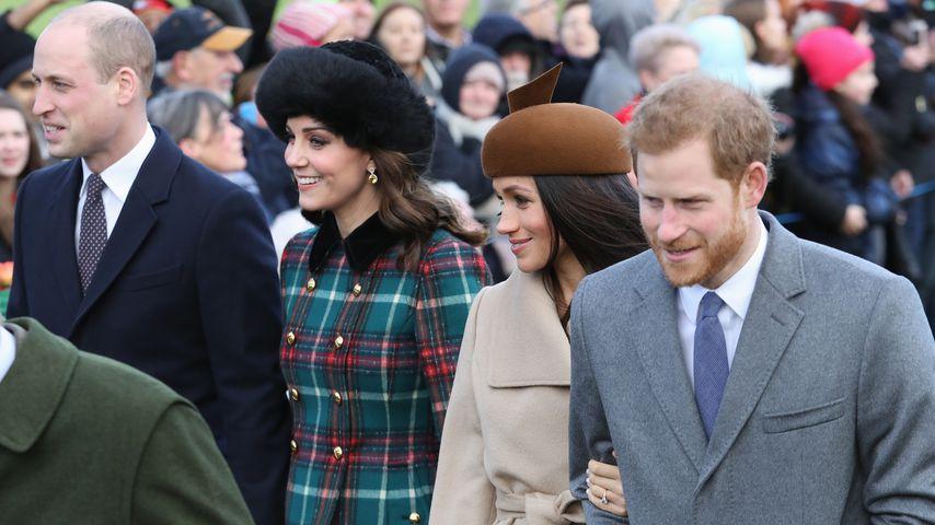 Prinz William, Herzogin Kate, Meghan Markle und Prinz Harry, Kirchgang Dezember 2017