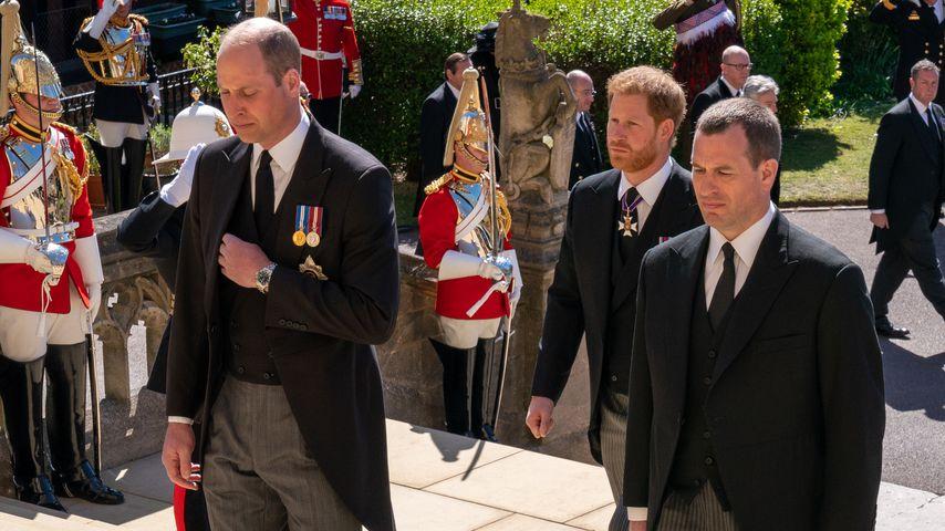 Prinz William, Prinz Harry und Peter Phillips bei der Beerdigung von Prinz Philip