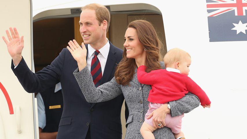Prinz William und Herzogin Kate mit ihrem Sohn George bei ihrer Ankunft in Neuseeland, 2014