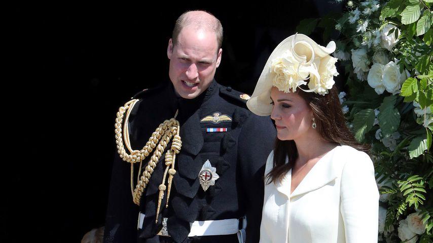 Prinz William und Herzogin Kate mit ihren Kindern George und Charlotte bei Prinz Harrys Hochzeit